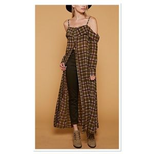 🎉HP🎉.  Olive Plaid Off- Shoulder Duster